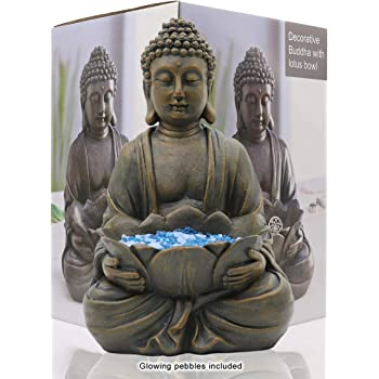 """LIMEIDE Meditating Buddha Statue Figurine Sitting Sculpture Decoration 12"""" Marble Finish with Lotus and Magical Glow in The Dark Pebbles and Glass Stones, Polyresin, Antique Bronze Look"""