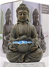 """LIMEIDE Meditating Buddha Statue Figurine Sitting Sculpture Decoration 12"""" Marble Finish with Lotus and Magical Glow in Th..."""