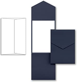 Navy Wedding Party Invitation Pocket, with White Envelopes and White Card Printable Inserts, Pack of 20