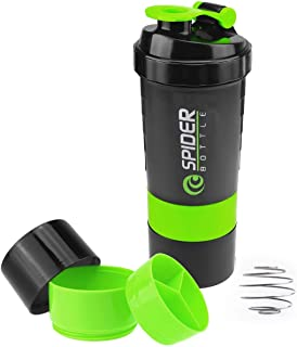 Protein Shaker Bottle with 3-Layer Twist and Lock Storage, 100% BPA-Free Leak Proof Fitness Sports Nutrition Supplements N...