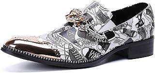 YOWAX Zapatos de los Hombres de Color del Modelo Zapatos de Cuero de la Cabeza del Metal de Moda para Informal, Fiesta, Va...