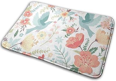 """Birds and Flowers Floor Rug Indoor/Front Door Mats Home Decor Rubber Non Slip Backing 23.6""""(W) X 15.8""""(L)"""