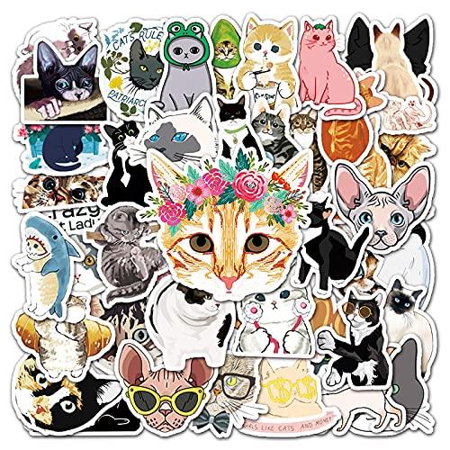 Later Dibujos animados lindo gato graffiti etiqueta cuaderno personalidad mano cuenta scooter coche nevera decoración pegatina 50pcs