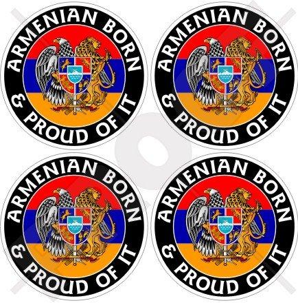 Arménie Arménien Born & Proud 50 mm (5,1 cm) bumper-helmet en vinyle autocollants, Stickers x4