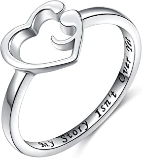 S925 Sterling Silver My Story Isn't Over Yet Semicolon Ring Size 4 5 6 7 8 9 10