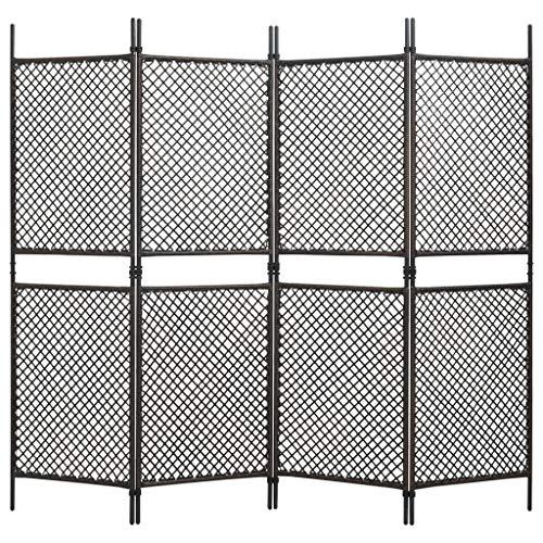 vidaXL Biombo de 4 paneles de ratán sintético marrón 240x200 cm