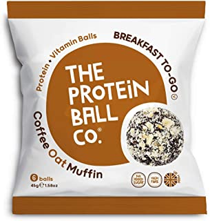 The Protein Ball Co. Breakfast To Go Protein and Vitamin Coffee Oat Muffin Protein Balls, 45 g