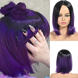 Synthetic Straight Hair Ombre 1B/Purple Short Bob Wigs for Women Girls Two Tone Middle Part Short Hair Bob Hairstyle 1B/Purple Color