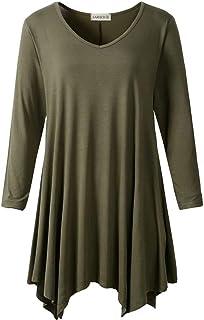 LARACE Women's V-Neck Plain Swing Tunic Top Casual T Shirt