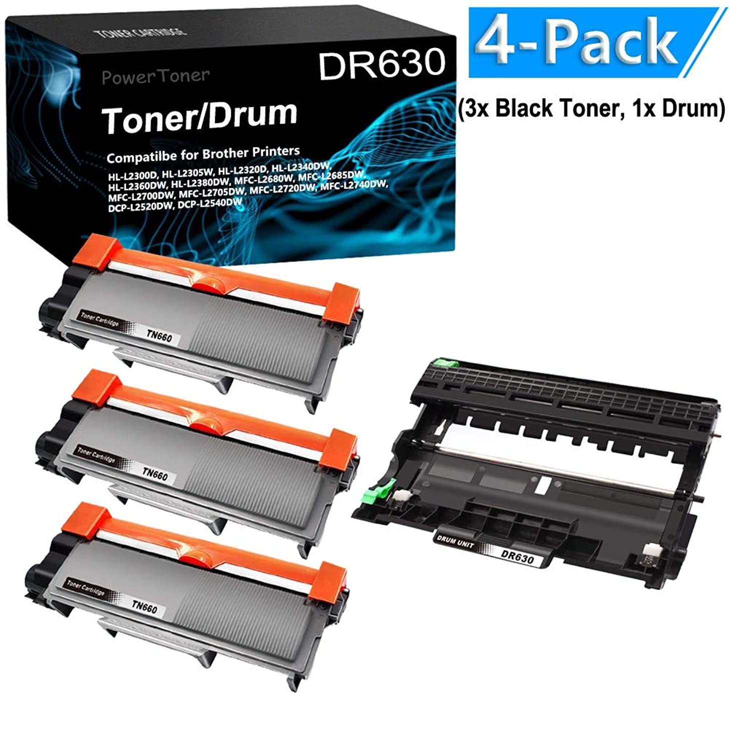 4-Pack (3X Black Toner,1x Drum Unit) Compatible TN660 DR630 Printer Cartridge Drum Unit Replacement for Brother TN660 DR630 to use with Brother MFC-L2700DW MFC-L2705DW Printer by PowerToner