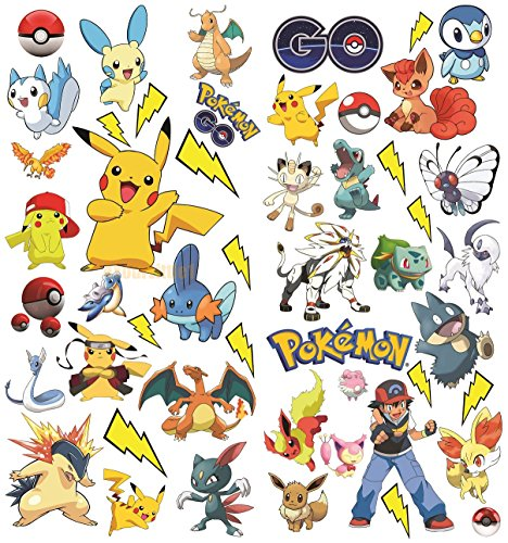 Pokemon Aufkleber | Pikachu Wandtattoo für Kinder