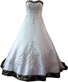 ZVOCY White Satin Camo Wedding Dresses A-Line Camouflage Embroidery Bridal Gown
