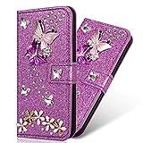 Yobby Hülle für Huawei P20 Lite Brieftasche,Bling Glitzer Lila Handyhülle 3D Diamant Blumen Schmetterling PU Leder Klappbar, Flip Case mit Kartenfach für Huawei P20 Lite