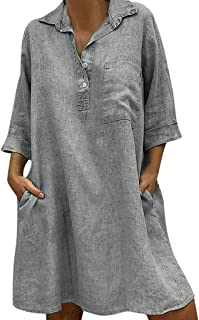 omniscient Women Loose Casual Dress Cotton Linen Solid Color Short Sleeve Dress with Pockets Blue M