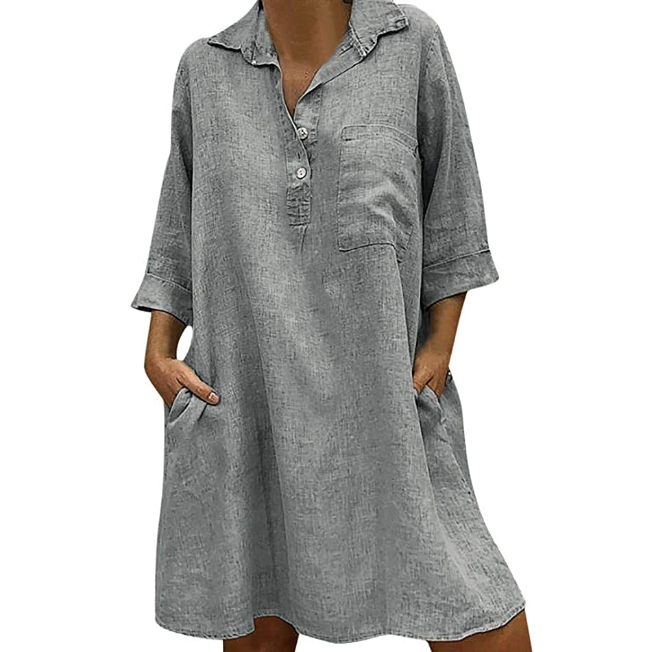 Hot Sale!!!Aries Esther Women's Pocket Button Dress Solid Boho Turn-down Collar Dress 3/4 Sleeve Casual