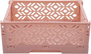 YouCY Foldable Desktop Storage Basket Space Saving Desk Organizer Fold Cosmetic Holder Crate Collapsible Utility Container Box Office Home Car Use Supplies,Pink
