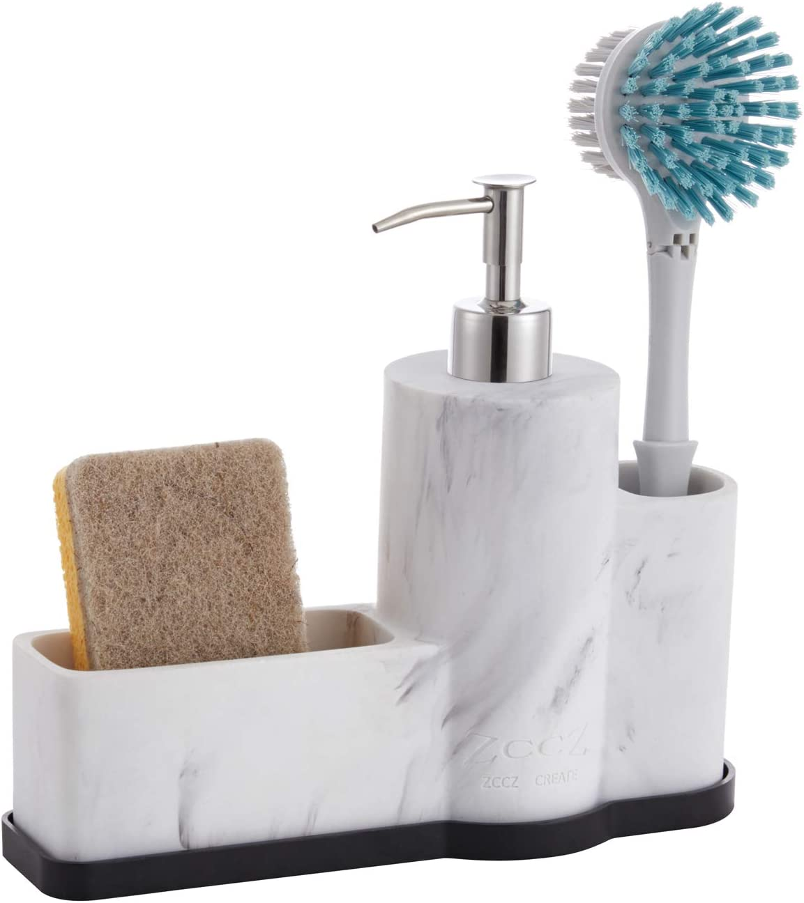 zccz Soap Dispenser with Sponge Max 40% OFF Brush and price Holder Marble