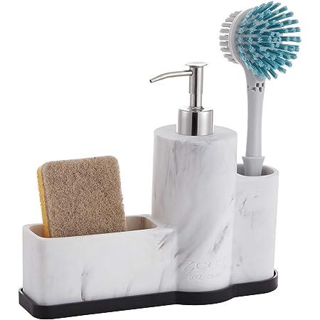 ZCCZ Soap Dispenser with Sponge Holder and Brush Holder, Marble Pattern Kitchen Dish Soap Dispenser Pump Bottle Countertop Sink Caddy Bathroom Organizer Sponge Holder for Sink Storage and Organization