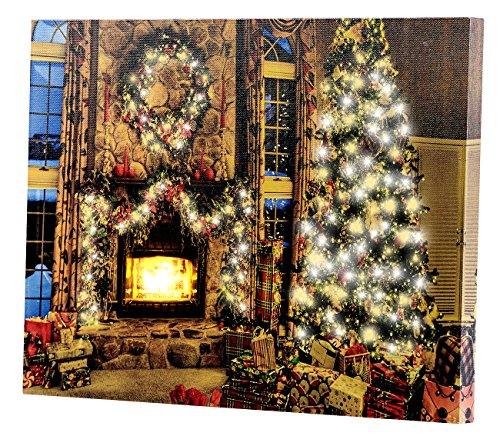 infactory Weihnachten Bilder: Wandbild Weihnachtliches Kaminzimmer mit flackernder LED, 40 x 30 cm (LED Leinwandbilder)