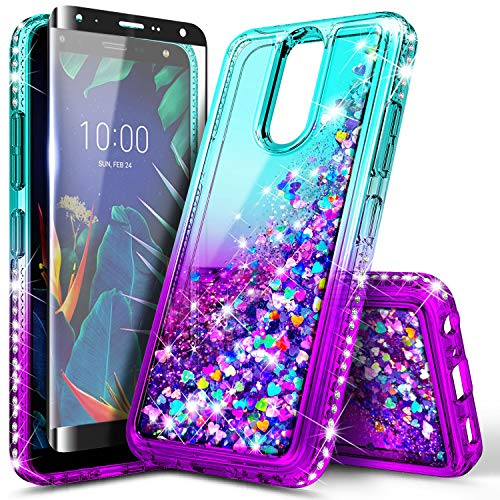 NageBee LG K40 Case, Solo LTE/Xpression Plus 2 /Harmony 3 /K12 Plus /X4 2019 with Tempered Glass Screen Protector (Full Coverage) for Girls Women Kids, Glitter Liquid Floating Cute Case -Aqua/Purple