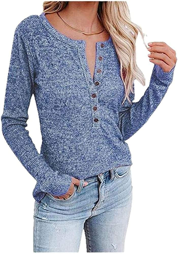 NP Women's Autumn Knitted Casual Long-Sleeved Button Sweater Color