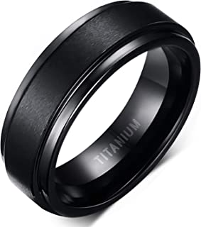 6mm 8mm Men Women Black Titanium Ring with Mahogany Wood Inlay Comfort Fit Wedding Band Size 5-14