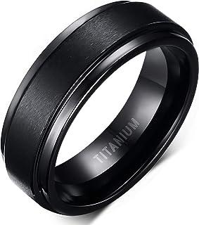 6mm 8mm Men Women Black Titanium Ring with Mahogany Wood Inlay Comfort Fit Wedding Band Size 5-14