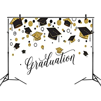 10x8FT Graduation Ceremony Backdrop White Bachelor Cap Golden Five-Pointed Stars Dots Ivy Leaves Photography Background Class Graduation Prom Party Banner Vinyl Photo Studio Props