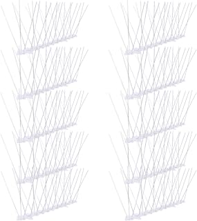 Stainless Steel Bird Spikes Kit, 10 Pack(10 feet) Bird Gel Deterrent Anti Bird Spikes Perfect for Small Bird Pigeon Seagull and Other Animals No Harm Pet Repellent