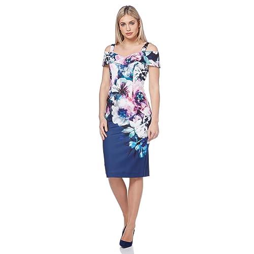 9638fb69be37 Roman Originals Women Floral Print Cold Shoulder Dress - Ladies Bodycon  Midi Dresses - Summer Spring
