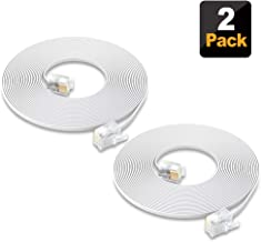SHONCO 2 Pack 6M 20ft Phone Telephone Extension Cord Cable Line Wire with Standard RJ11 6P4C Plugs for Landline Telephone- White