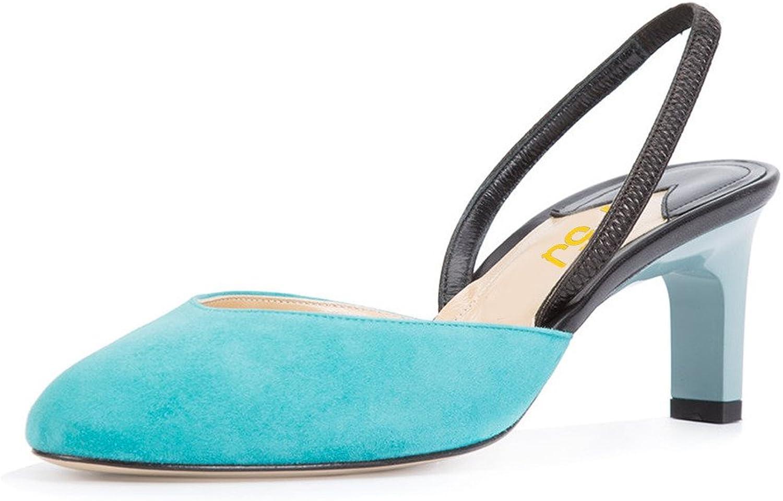 FSJ Women Fashion Almond Toe Mid Heels Sling back Sandals Dress pumps shoes Size 4-15 US