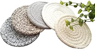 POPU Round Cotton Braided Table Place Mats Braided Coaster Non-Slip Placemats Table Mats Set of 5 for Cups Dining Kitchen Washable Small