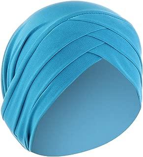 Women Autumn Winter Warm Solid Cross Islamic Muslim Cap Beanie Wrap Scarf Cotton Elegant Elastic Turban Pleat Chemo Cap (Blue)