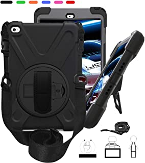 iPad Mini 4 Carrying/Shockproof case with 360 Degree Swivel Kickstand Handle Hand Strap & Shoulder Strap,Three Layer Heavy Duty Full-Body Drop Rugged Kids Protective Cover, for A1538 A1550 - Black