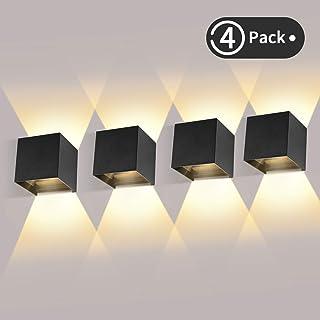 4 Pcs Moderno Lampara de Pared LED, 12W Aplique Pared Interior/Exterior de Aluminio 3000K Blanco Cálido Led Lámpara Pared Negro