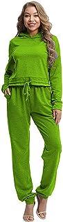 amropi Mujer Conjunto de Ropa Chandal con Capucha Tops y Pantalones Casual Señoras 2 Piezas Set