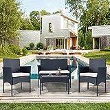 QWEPOI Conjunto de muebles de jardín de polirratán para 4 personas, sofá y mesa, incluye cojín para jardín, balcón y terraza, color negro