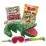 PartyMarty Pinata-Set: Pinata Kroko All in Set + Schläger + Maske + Trolli Süßigkeiten-Füllung + Konfetti - Geburtstagsspiel Kindergeburtstag GmbH®