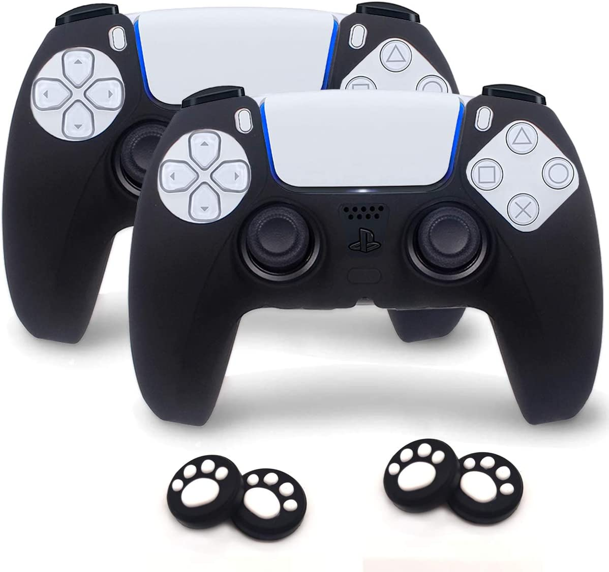 Sofunii 2 Pack Silicone Controller Skins Anti-Slip Cover Case Protector Sleeve for Playstation 5 /PS5 Controller with 4 Pack Paw Prints Thumb Grips (Black)