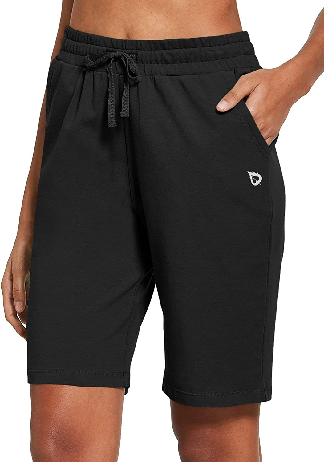 BALEAF Women's Bermuda Shorts Long Cotton Jersey with Pockets Athletic Sweat Walking Knee Length for Summer Workout : Clothing, Shoes & Jewelry