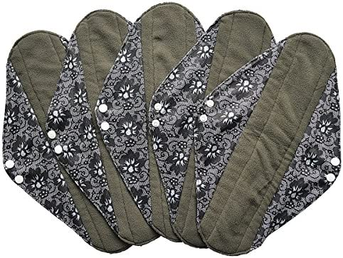 5 Pieces Charcoal Bamboo Mama Cloth Menstrual Pads Reusable Sanitary Pads Overnight 14 inch product image