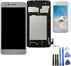 Eaglestar Compatible LCD Full Assembly Display Screen Touch Digitizer Parts Replacement with Frame Tape for LG Aristo M210 MS210 / Phoenix 3 K8 2017 5''+Frame Tape-Silver