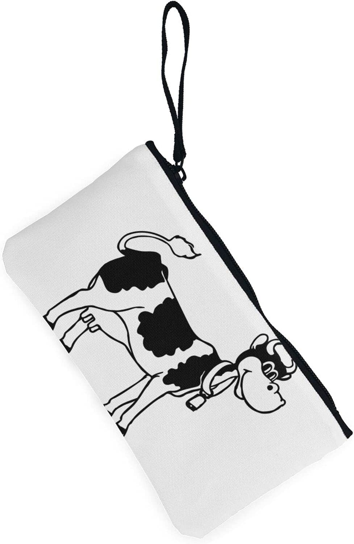 AORRUAM white and black cow Canvas Coin Purse,Canvas Zipper Pencil Cases,Canvas Change Purse Pouch Mini Wallet Coin Bag