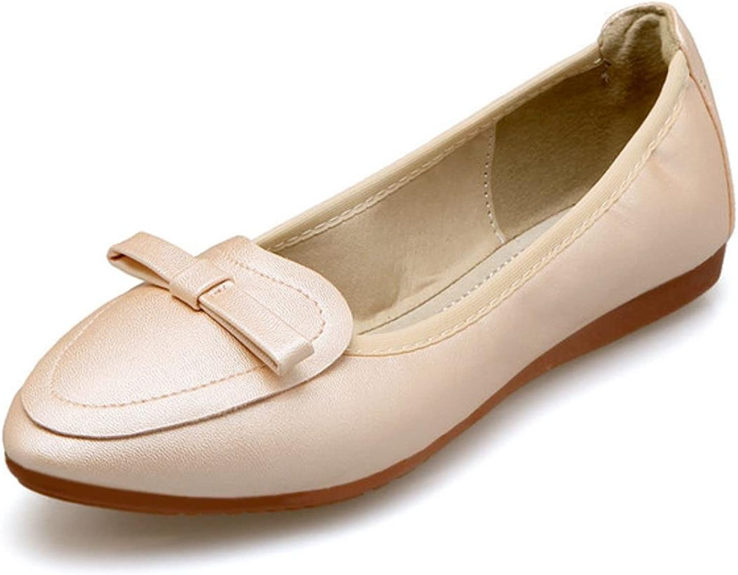 Fletiter Women Flat shoes New Bow Tie Leather Casual shoes for Woman Soft Ballet Pregnant women