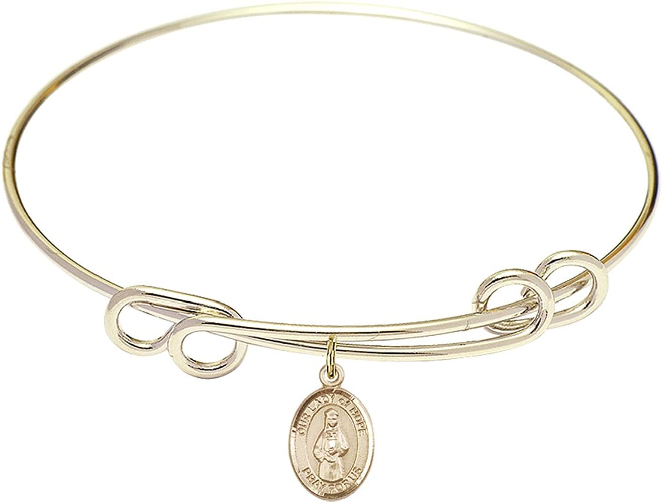 DiamondJewelryNY Double Loop Bangle Bracelet with a O/L of Hope Charm.