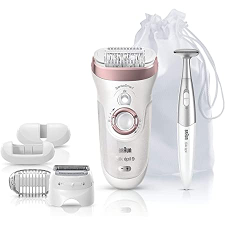 Braun Silk-épil 9 9-890 Facial Hair Removal for Women, Bikini Trimmer, Womens Shaver Wet & Dry, Cordless and 7 extras