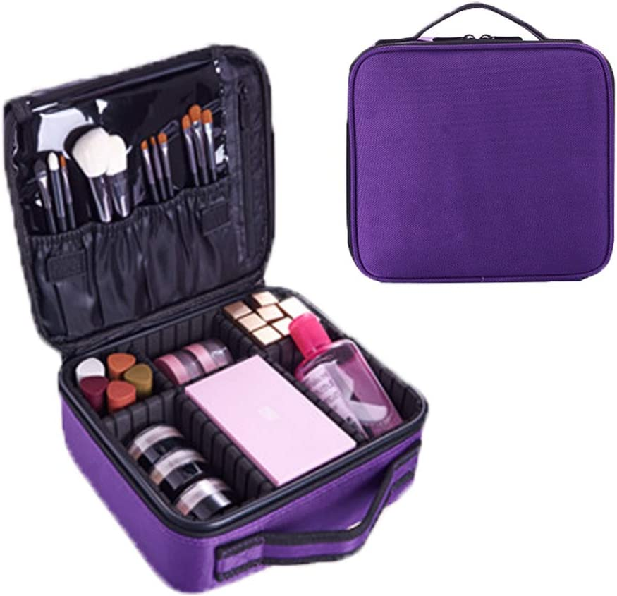 Travel Makeup Train Case Professional Cosmetic Organizer Case Makeup Artist Storage Bag Makeup Bag with Adjustable Dividers for Makeup Brush,Nail Tool,Toiletry,Jewelry and Digital Accessories Purple