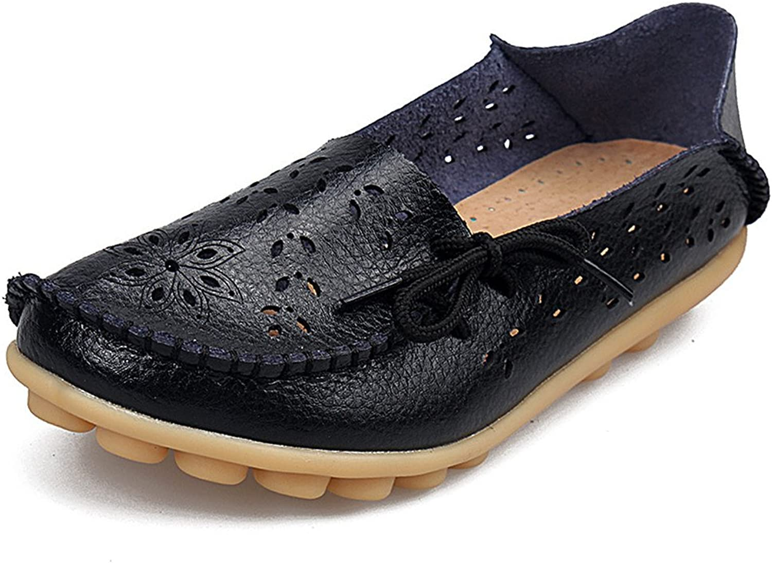 SHIBEVER Women's Leather Loafers Moccasins Wild Driving Casual Flats Oxfords Breathable shoes Black-2 10