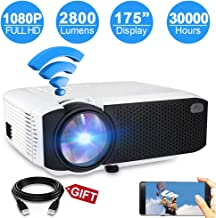 Wireless Projector 2800Lux, Weton Mini WiFi Projector 1080P HD 70% Brighter 175'' Display Video Projector LED Portable Home Movie Projector Support HDMI USB VGA AV for Smartphones TV Stick Laptop Xbox